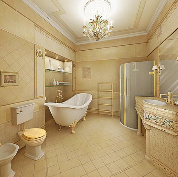 Совмещенная ванная в классическом стиле