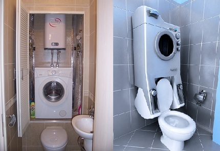 Варианты необычного размещения стиральной машинки
