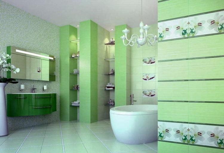 Зеленая плитка в интерьере ванной комнаты
