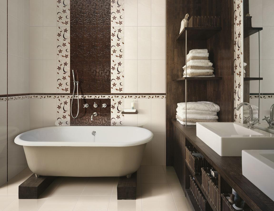 Бело коричневое оформление ванной комнаты