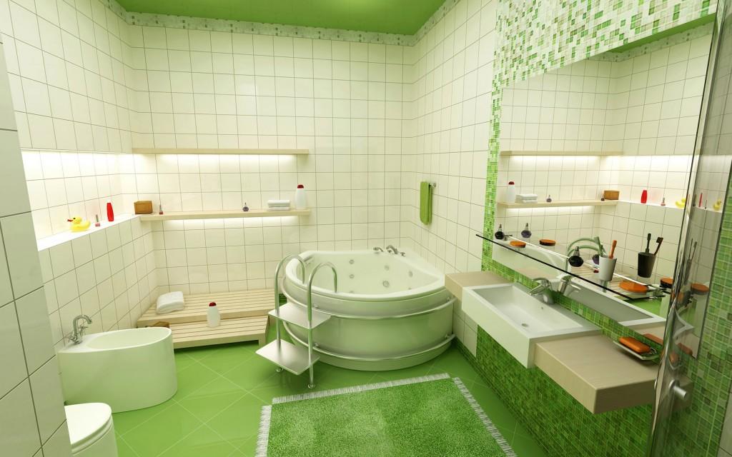 Бело зеленый интерьер ванной комнаты