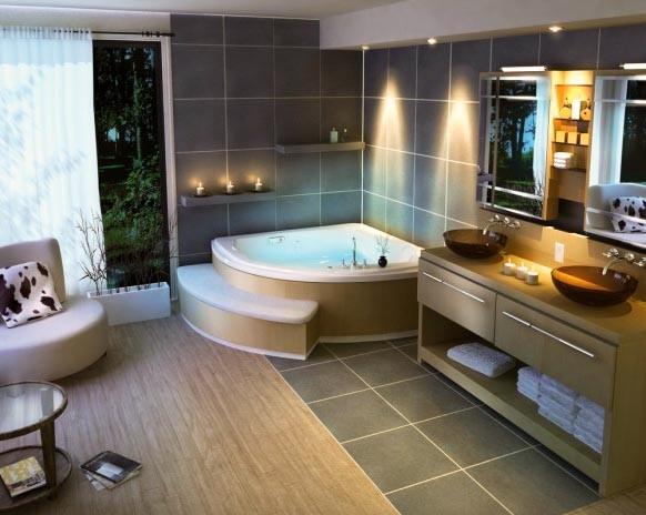 Угловая ванна имеет большое количество преимуществ