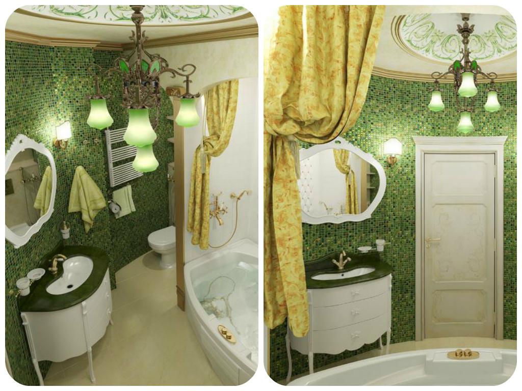 Ванна в стиле барокко зеленый цвет