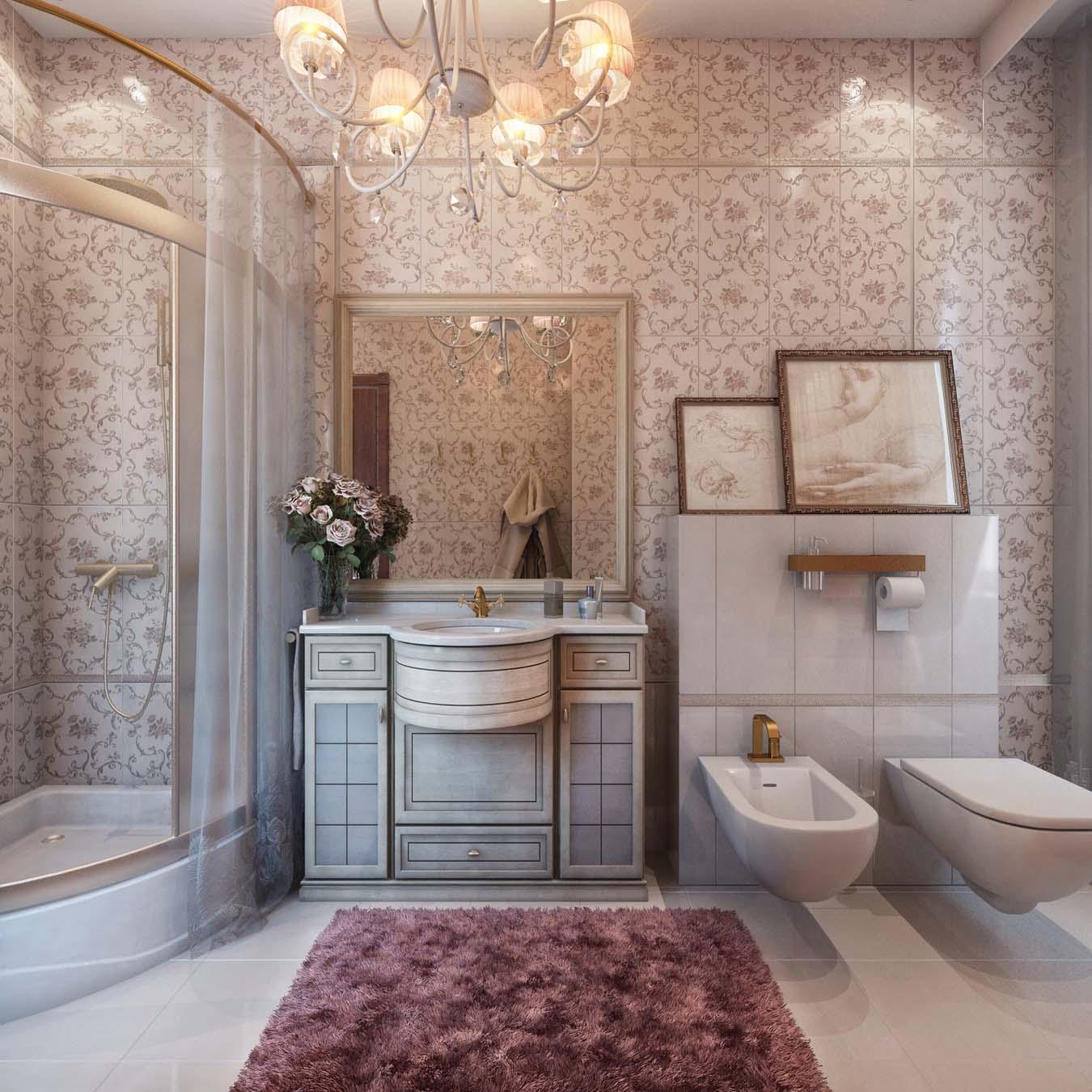 Ванная комната классическая совмещенная с туалетом