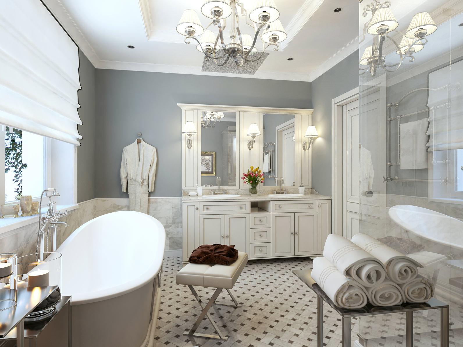 Белая ванна в классическом стиле
