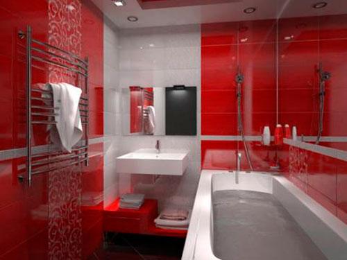 Дизайн ванной комнаты маленького размера в красных тонах