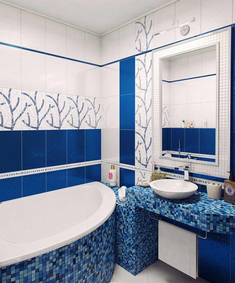 Дизайн ванной комнаты в хрущевке в бело синих тонах