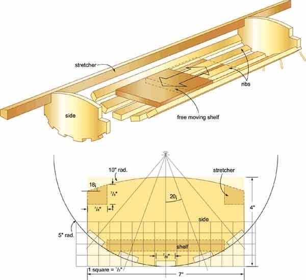 Схема решетки с полочкой