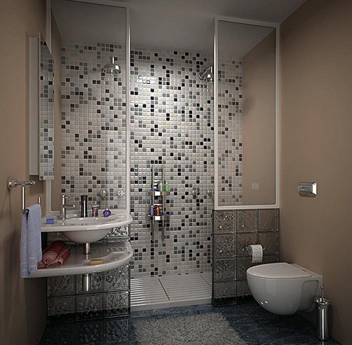 Мозаика на стене в маленькой ванной