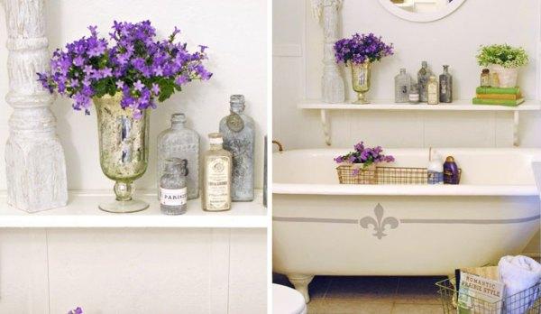Открытые полки для цветов в ванной
