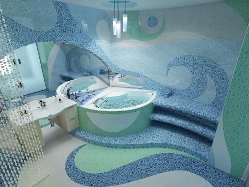 Плитка мозаика на полу в ванной