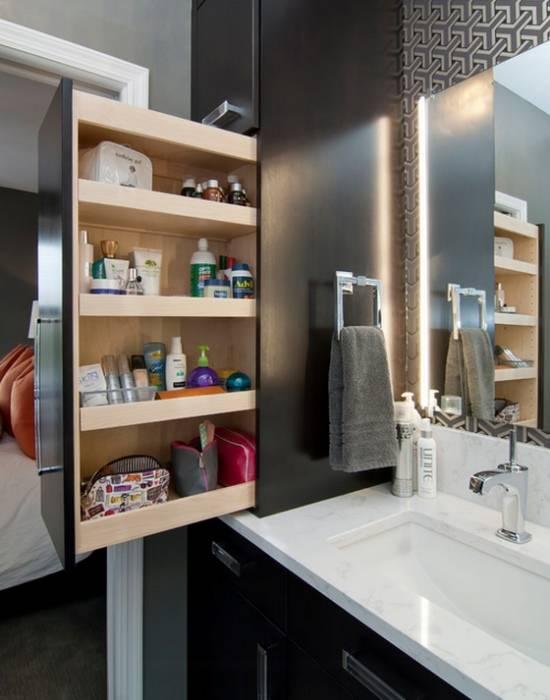 Скрытый глубокий шкафчик для ванной