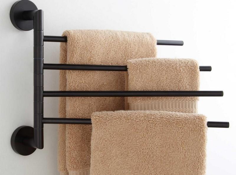 Настенная черная вешалка для полотенец