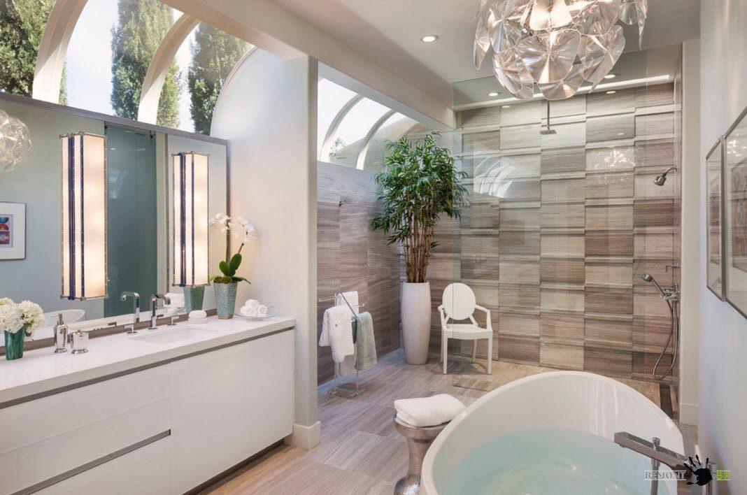 Современный стиль оформления ванной комнаты невероятно демократичен