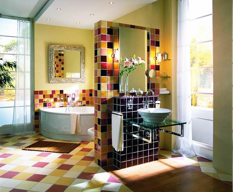 Зонирование ванны в ярких цветах