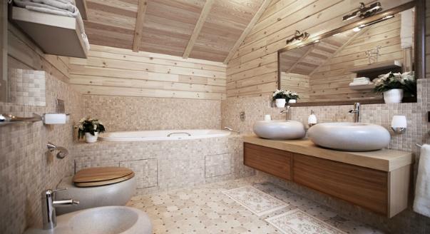 Дизайн пола ванной в деревянном доме