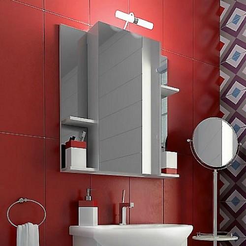 Для хранения различных предметов гигиены отлично подойдет шкафчик с зеркалом