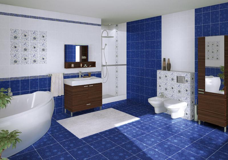 Керамическая плитка в сине белой ванной комнате