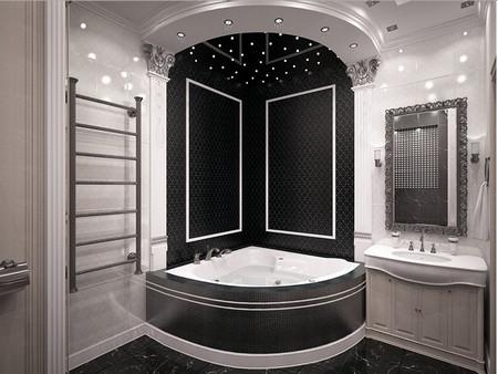 Красивое оформление потолка в ванне