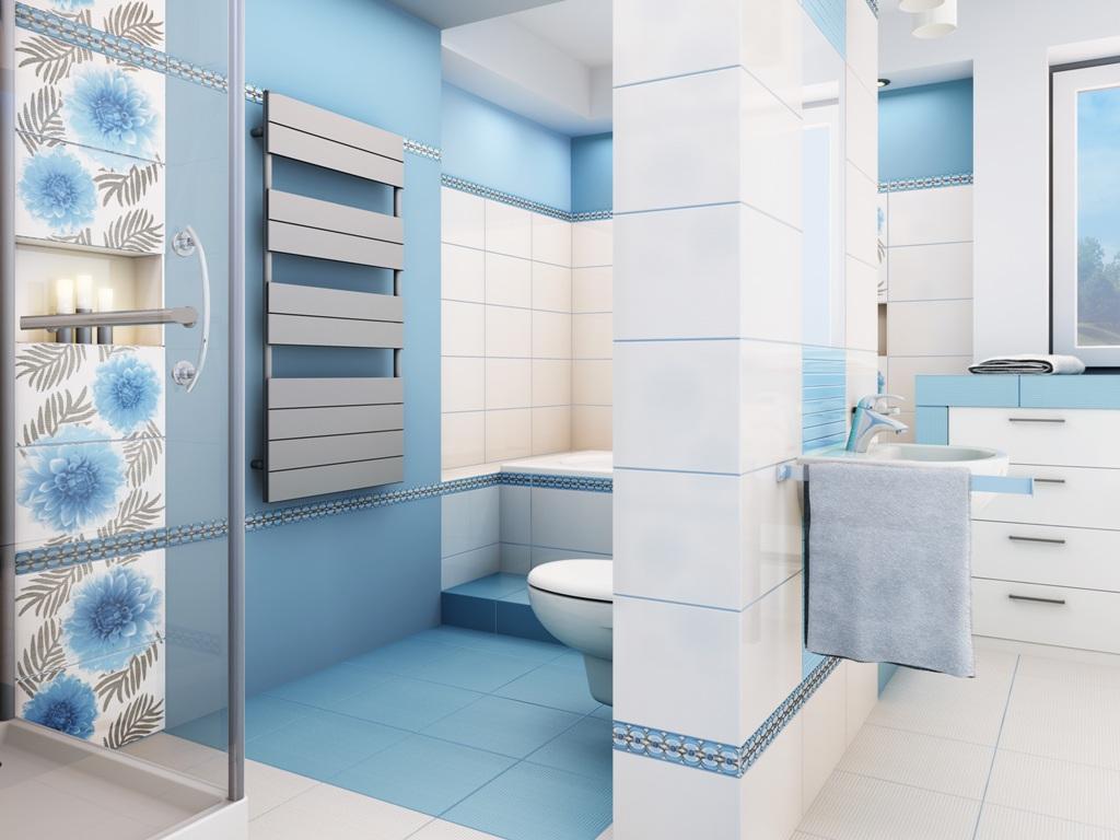 Одной из самых эффектных разновидностей зонирования ванной считается цветовое