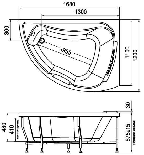 Размеры угловой акриловой ванны