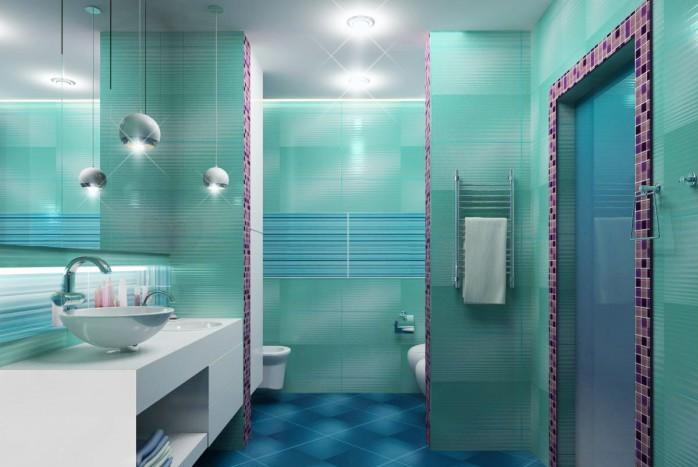 Ремонт бирюзовой ванной комнаты и санузла