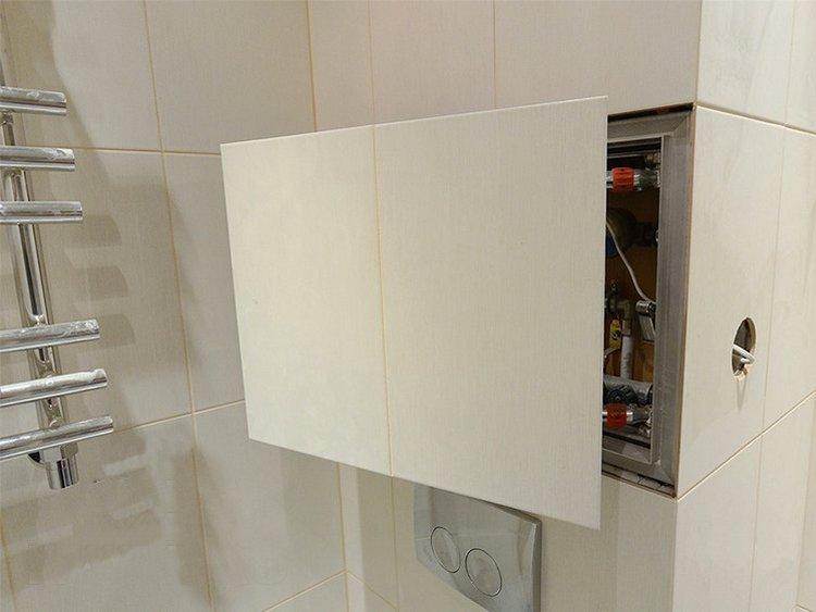 Сантехнический люк пол плитку в ванной комнате