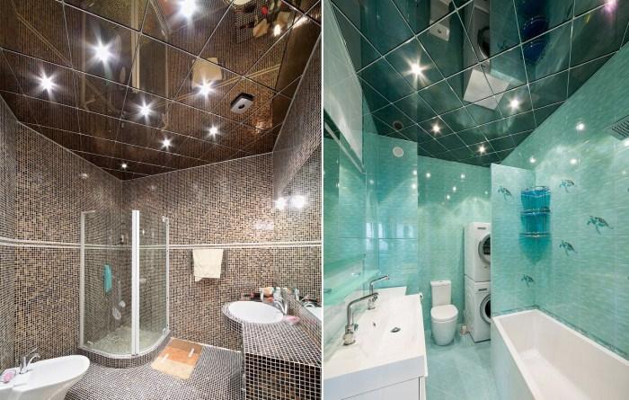 Зеркальный потолок идеально подходит для небольшой ванной комнаты