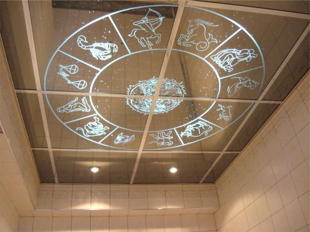 Зеркальные потолки в ванной