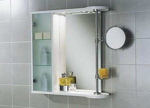 Зеркало в ванную с полкой и шкафчиком