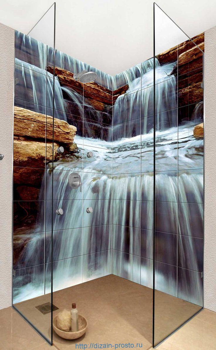 3Д плитка с изображением водопада