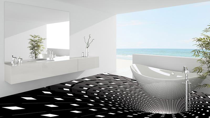 3Д пол в ванной в черном цвете