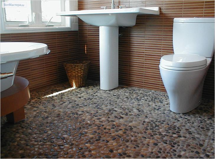 Галечный пол в ванную