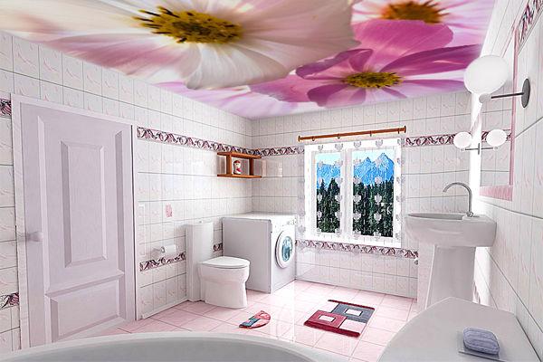 Где лучше применить фотопечать на потолке в виде цветов