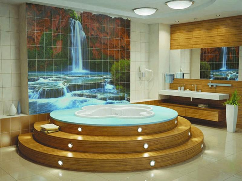 Керамическое панно для интерьера ванной