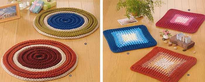 Квадратные и овальные коврики вязанные своими руками
