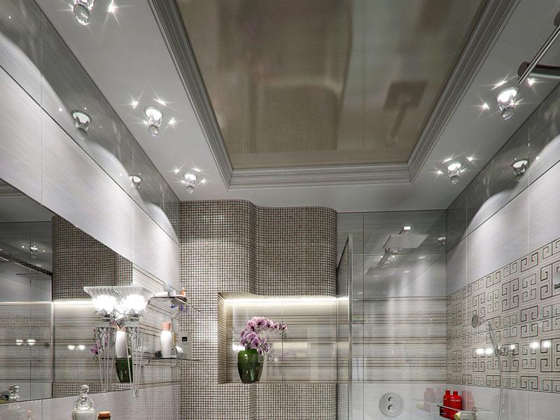 Потолки в ванной серого цвета
