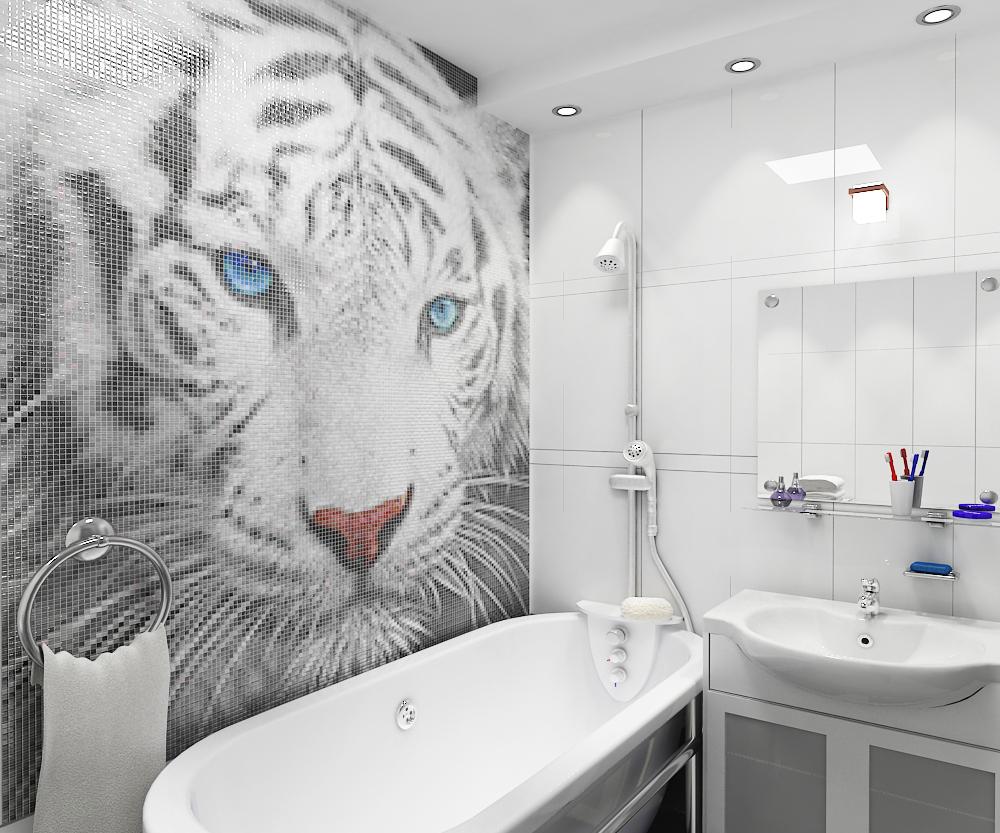 Панно из мозаики для ванной тигр