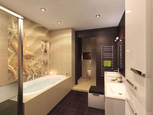 Панно из плитки с рисунком ракушек для ванной
