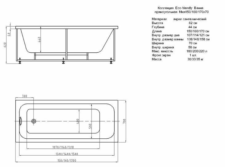 Размеры акриловой ванны на чертеже