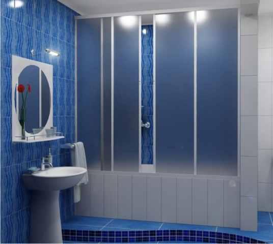 Шторки с матовым покрытием для ванной раздвижные