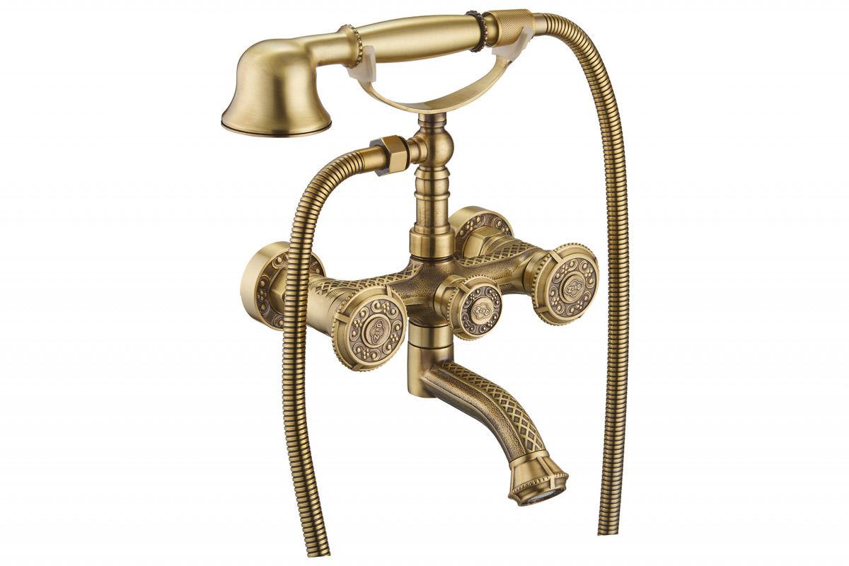 Смеситель для ванны ретро двухвентильный бронза с душем