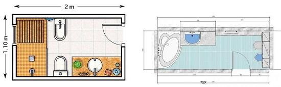 Планировка узкой ванной комнаты