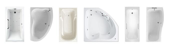 Возможные формы ванн