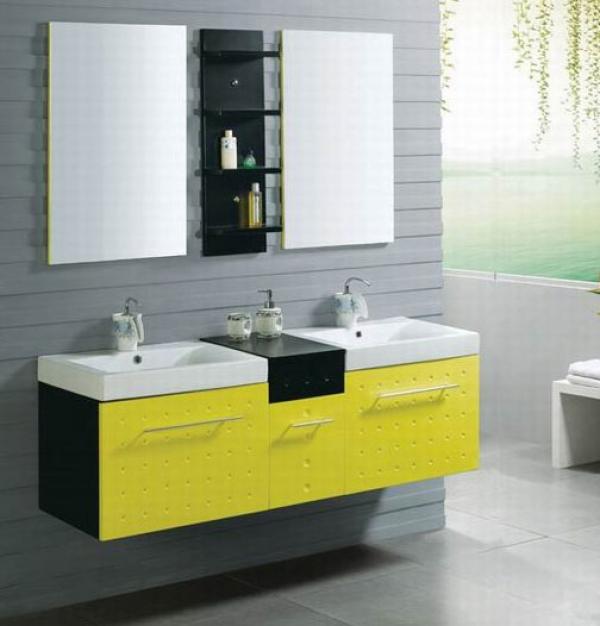 Желтая мебель для ванной комнаты