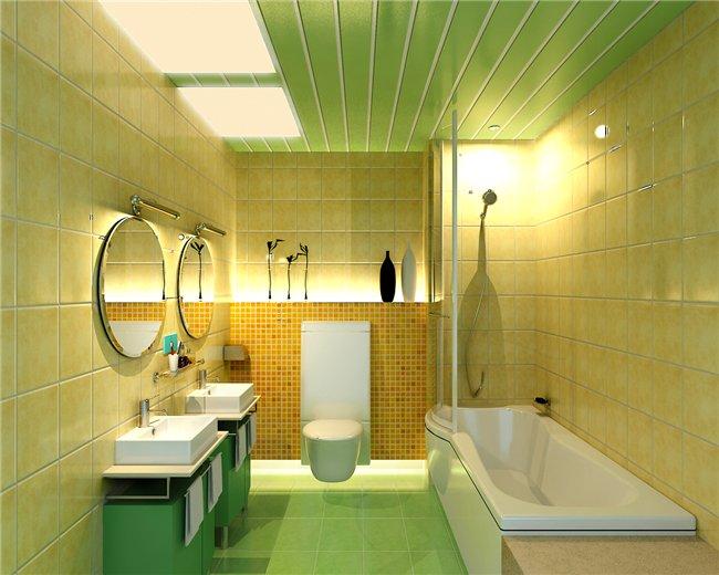Зеленые пластиковые панели в ванной