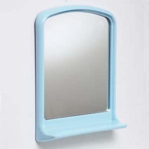 Зеркало для ванной в пластиковой оправе с полкой