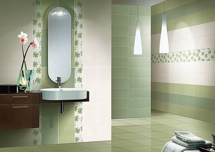 Плитка для ванной комнаты для стены в зеленом цвете