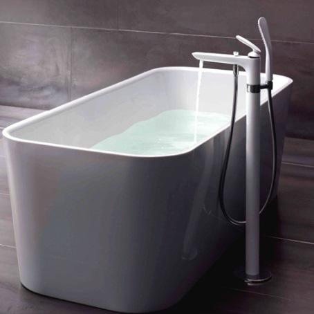 Напольный смеситель для ванны и душа, белый