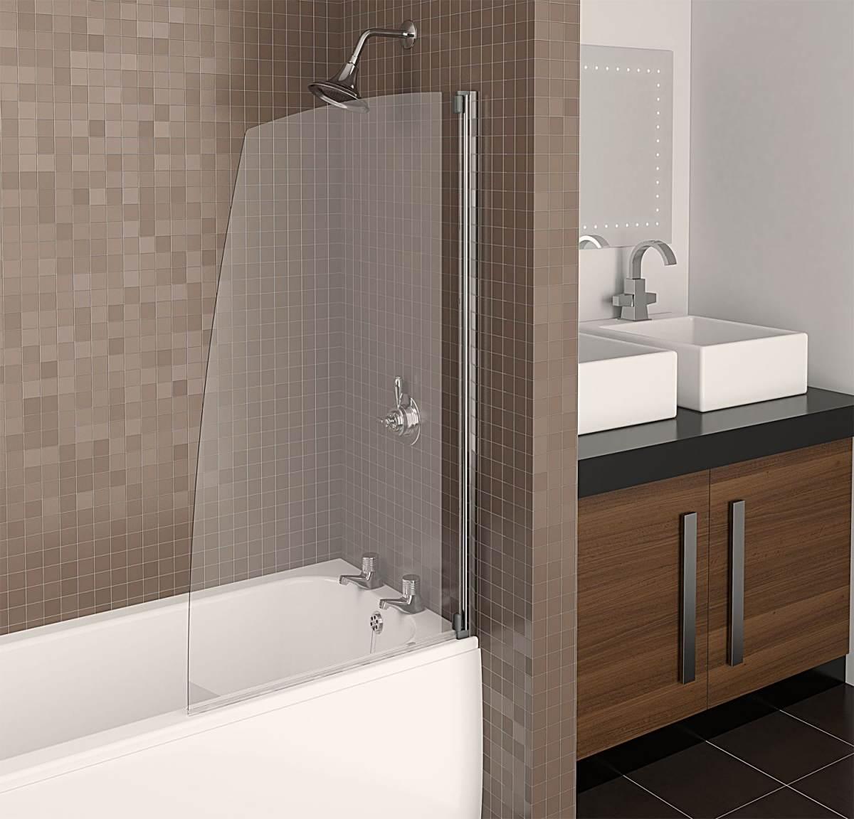 Современная шторка из стекла в ванную